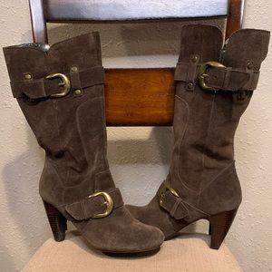 Brown Suede Knee High Boots Katie Kelly RAINA